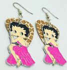 Betty Boop in Pink Charm Guitar Pick Earrings with Surgical Steel Earwires $9.3 CAD on eBay
