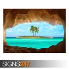 SMALL ISLAND WITH PALM TREE (AD991) NATURE POSTER - Poster Print Art A0 A1 A2 A3