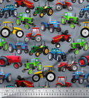 Soimoi Sewing Cotton Fabric Material Tractor Print 58 Inches Wide By the Metre