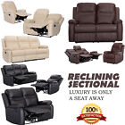 XEO HOME- 3+2+1 SEATER LEATHER RECLINER SOFAS BLACK BROWN CREAM LAZYBOY SOFA SET