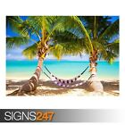 TROPICAL BEACH HAMMOCK (AE067) NATURE POSTER - Poster Print Art A0 A1 A2 A3