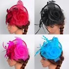 Women Fascinator Hat Feather Floral Headdress Cap Cocktail Fishnet Headband