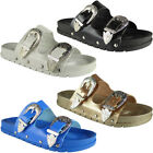 Womens Ladies Summer Buckle Studded Sliders Flats Shoes Slip Ons Slippers Size