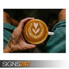 MAN HOLDING A CUP OF COFFEE (AE812) - Photo Picture Poster Print Art A0 to A4