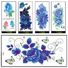 5PCS Large Arm Temporary Tattoo Sticker Beauty Decal Body Art Blue Flowers Women