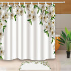 Plain Flowers Bathroom Waterproof Polyester Fabric Shower Curtain & Hooks 71*71""