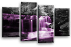 Waterfall Canvas Wall Art Picture Print Purple Teal Grey White Split