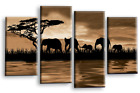 LARGE ELEPHANT CANVAS WALL ART PICTURE SEPIA BROWN SUNSET WATER MULTI PANEL