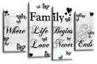 Family Quote Wall Art Picture Black White Grey Canvas Print Large 112 cm