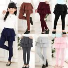 New 3 11Y Girls Warm Cute Cake Culottes Leggings With Ruffle Tutu Skirt Pants US