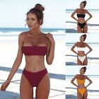 Sexy Women's Strapless Bandeau Push-up Bra Swimsuit Swimwear Bathing Bikini Set