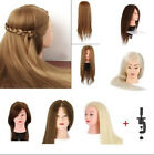 100% Real Human Hair Salon Hairdressing Training head Mannequin Doll & Clamp UK