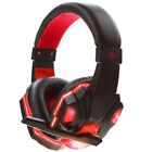 3.5mm Microphone Gaming Headset Mic RED Black LED Headphones For PC Laptop