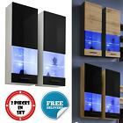 Wall Display Cabinet Glass Door LED Lighted Shelves Modern Furniture White