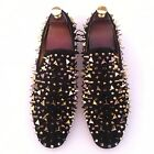 Men's Gold Spikes Loafers Dress Shoes Black Leather Slippers Slip-on Flats US 9