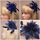 LARGE DARK NAVY FLOWER AND NET FASCINATOR ON A CLEAR COMB