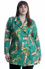 New Womens Plus Size Coat Ladies Blazer Paisley Print Jacket Formal Button Soft
