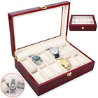 20/12/10/6 Grid Slots Glass Watch Display Box Bracelet Jewelry Storage Organiser