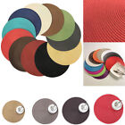 4Pcs Holiday Party Round Woven Table Pads Placemats PP Waterproof Cloth Mats