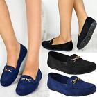 Womens Girls Black Flat Loafers Shoes Driving Moccasin Pumps School Work Office