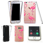 Silicone 360° Full Protection Cover Case For Most Mobiles pink long flamingos