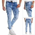 Men's Cipo & Baxx Cargo Jeans Denim Washed out Light Blue 32L 34L Loose Tapered