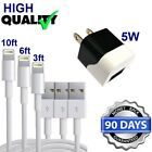 3ft,6ft,10ft USB Power Cord Cable + 5W Cube Wall Charger for iPhone 6S,SE,5,7,8