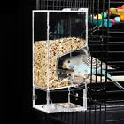 Transparent Acrylic Bird Cage Seed Feeding Feeder Anti-splash Automatic Assembly