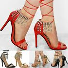 Womens Ladies Lace Up Diamante Jewel Droplet Barely There Stilettos Sandals Size