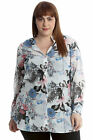 New Womens Plus Size Shirt Ladies Floral Butterfly Top Button Ban Long Sleeves