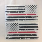 Set of 2 Black Thin Red Line Distressed Flag Decal Stickers for Jeep Ford Dodge