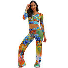 Women's Sexy V Neck Print Hooded Sweater Loose Casual Wide Leg Jumpsuit 2pcs