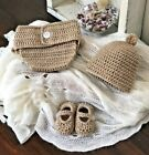 Baby 3 Pc Set Frilled Nappy Cover Beanie & Shoes Crochet 0-6m Oz made 4 colours!