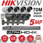 HIKVISION 5MP CCTV SYSTEM 4K UHD 4CH 8CH DVR 70M IR VARIFOCAL BULLET CAMERA KIT