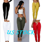 Women Casual Mul-pocket Jeans Pants High Waist Stretch Slim