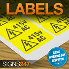 ELECTRICAL WARNING STICKERS - self-adhesive yellow labels AC 415V
