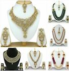 Kundan Gold Plated Wedding Jewelry Pearl Necklace Set Indian Bollywood Fashion
