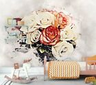 Vintage Floral Rose Bouquet Wallpaper Flowers Wall Mural Peel and Stick WP64