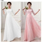 Womens Long Lace Dress Evening Formal Party Prom Wedding Bri