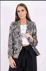 New Women Ladies Snake Animal Printed Button Detail Crop Blazer Jacket Autumn UK