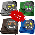 Waterproof Canopy Tarp Tent Cover Heavy Duty 10x10 10x12 Silver Blue Green Brown