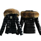 Womens Ladies Quilted Padded Puffer Bubble Fur Collar Warm Jacket Coat Outerwear