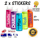 2 X Water Bottle Name Labels / Personalised Stickers Kids School Lunch Box Drink