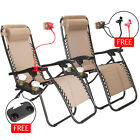 2PC Zero Gravity Chairs Folding Recliner Lounge Patio Chairs Outdoor Yard Beach
