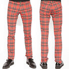 Tripp NYC Top Cat Mens Stretch Slim Straight Trouser Pants Jeans Red Plaid NEW