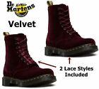 Dr Martens Ladies 1460 Pascal Cherry Red Velvet Ankle Boots