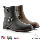 Men's Casual Engineer Zipper Motorcycle Leather Hiking Buckle Round-toe Boots