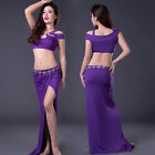 New 2018 Sexy Belly Dance Costumes Hollow Out Top & Long Slit Skirt Women