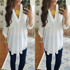 Emmababy Women V Neck Loose Oversize Solid Long Sleeve Casual Blouse Tops TShirt