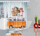 Waterproof Fabric Bathroom Polyester Shower Curtain Xmas Bus In Winter Season Lb